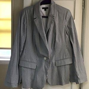 Grayish Blue Striped Blazer